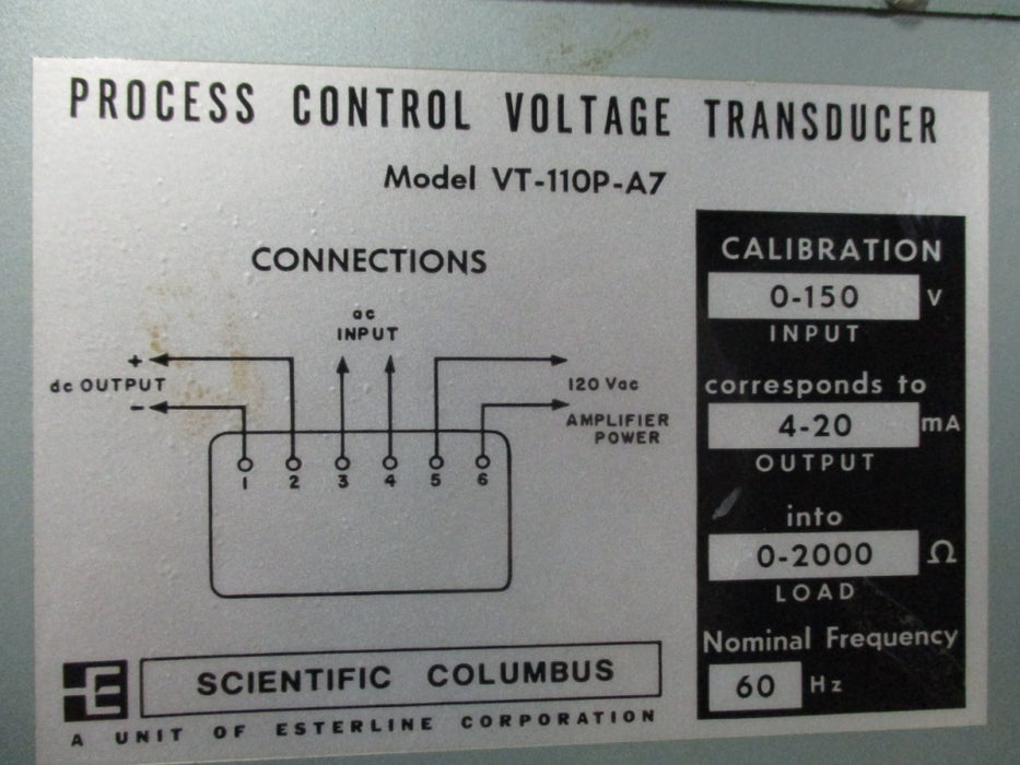 VTY-110P-A7 - Scientific Columbus - Transducer