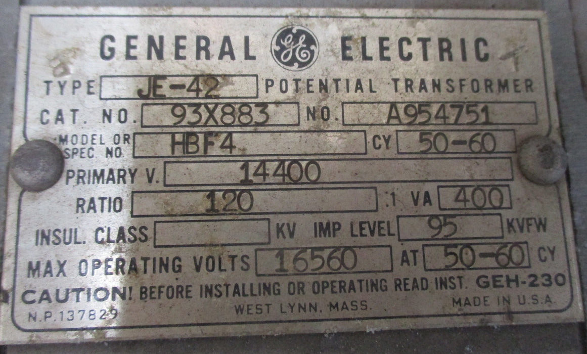 93X883 - General Electric JE-42 Potential Trasformer