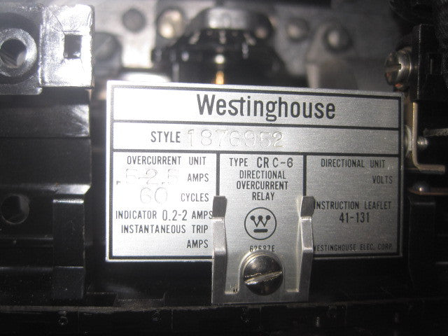 1876952 ~ Westinghouse CRC-6 Directional Overcurrent Relay 1876952