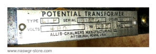 Allis Chalmers Potential Transformer , Type: LIP , Double Fused