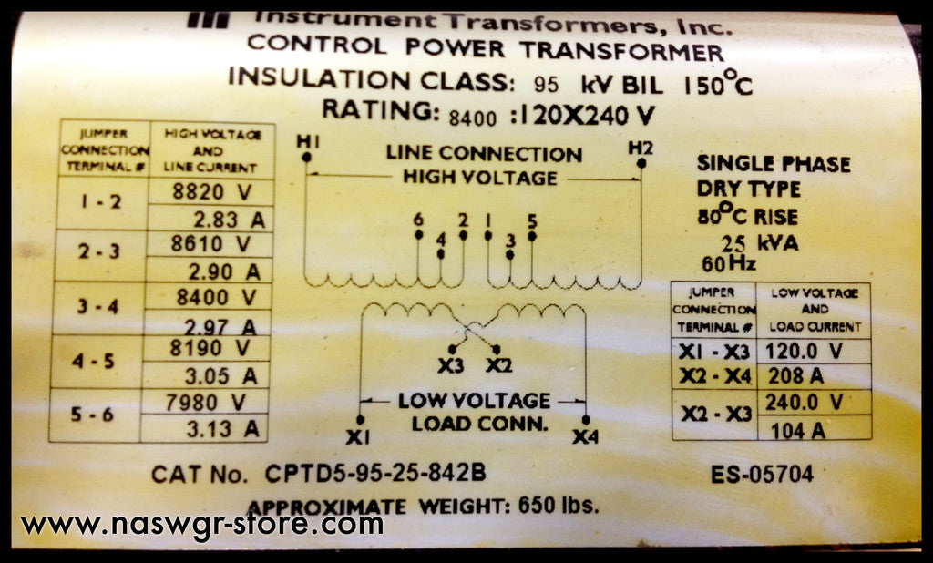 CPTD5-95-25-842B ~ Instrument Transformer Inc. CPTD5-95-25-842B 25kVA Control Power Transformer