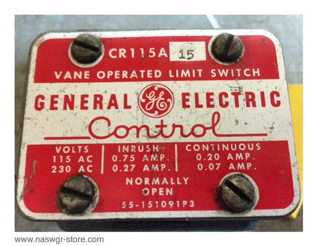 CR115A15 , GE CR115A15 Vane Operated Limit Switch , Normally Open , 55-151091P3 , PN: CR115A15