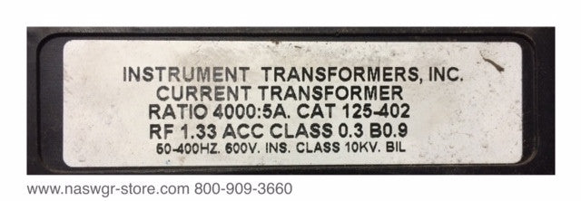 125-402 ~ Instrument Transformers 125-402 CT ~ 4000:5A