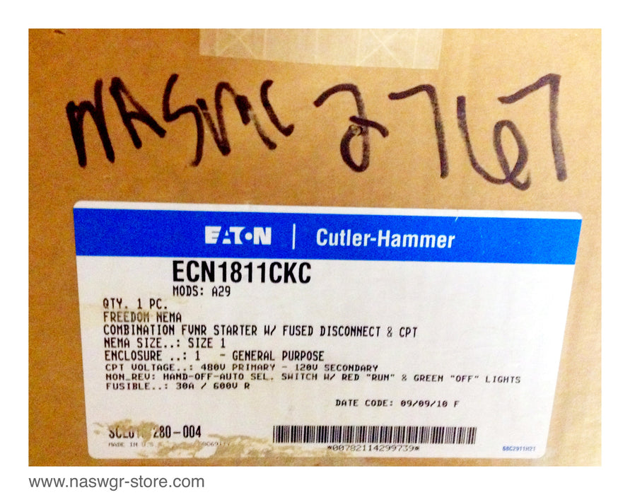 ECN1811CKC , EATON Cutler Hammer Size 1 Combination FVNR Starter with Fused Disconnect & CPT , AN16DN0 , C361SC , B100-2162-8 , ECN1811CKC