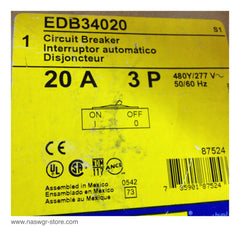 EDB34020 , Square D EDB34020 Circuit Breaker , Unused surplus in original box , 3 pole , 20 amp EDB , 600vAC-240vDC
