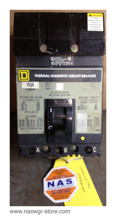 Square D FA36060 Circuit Breaker