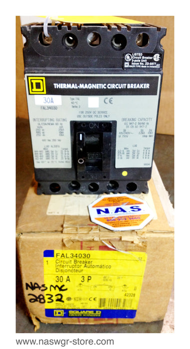 FAL34030 , Square D FAL34030 Circuit Breaker , 3 Pole 480 Volt 30 Amp FAL Unused Surplus