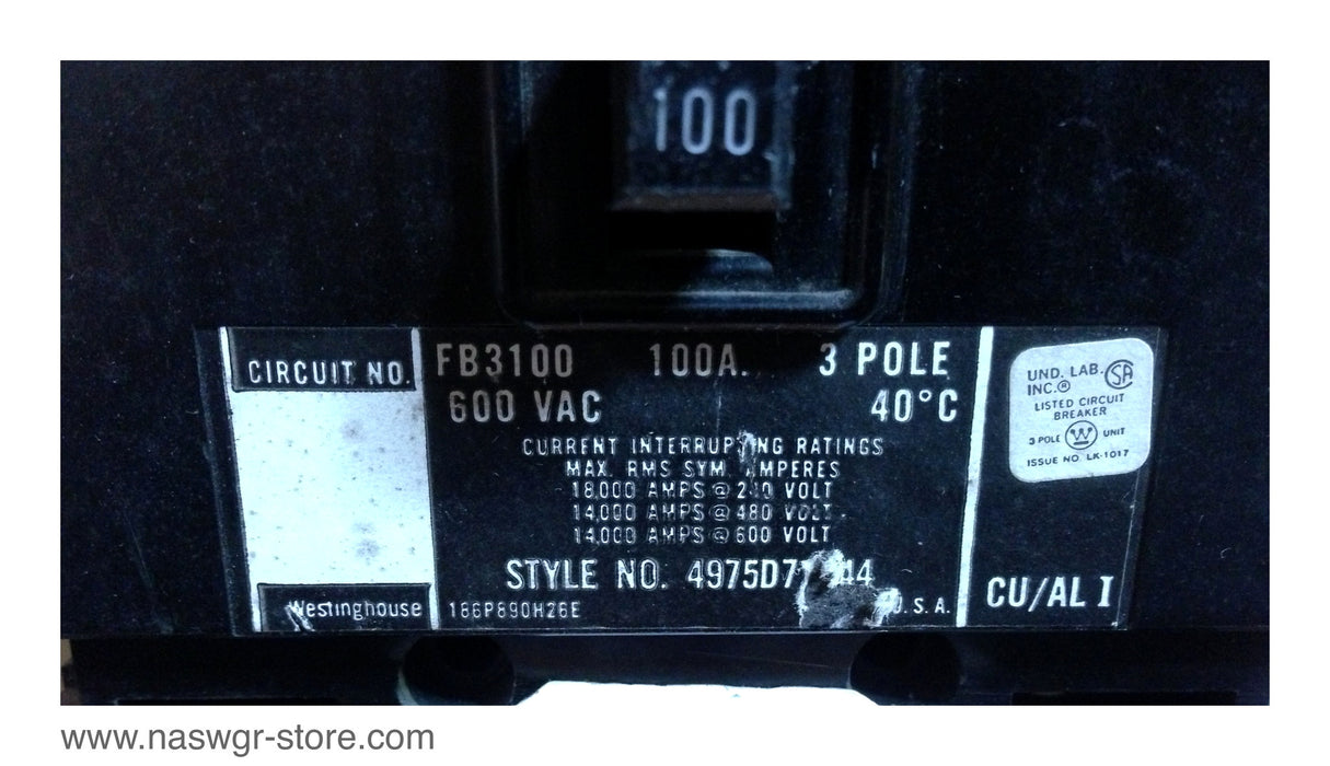 Westinghouse FB3100 Circuit Breaker ~ 100 Amp
