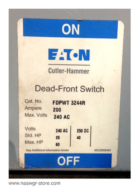 FDPWT3244R ~ Eaton / Cutler Hammer FDPWT3244R Panelboard Switch ~ 200 Amps