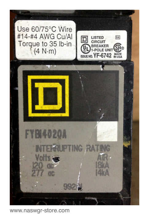 FYB14020A , Square D FYB14020A , 20 Amp , 1 Pole Circuit Breaker , Crown Style Stab , PN: FYB14020A