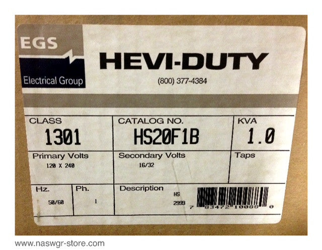 HS20F1B , EGS Electrical Group HS20F1B Hevi Duty General Purpose Transformer , Type: HS , * Unused Surplus in Box* , Primary Volts: 120/240 , Secondary Volts: 16/32 , 50/60 Hz , 1 Phase , 1.0 KVA , PN: HS20F1B