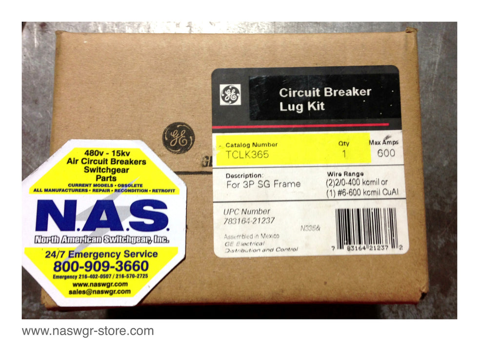 TCLK365 , GE TCLK365 Lug Kit for 3P SG Frame Circuit Breaker , Max. Amps: 600 , * Un-used Surplus in Box* ,  PN: TCLK365
