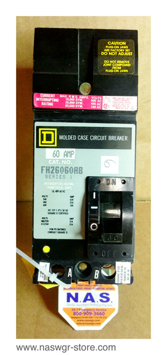FH26060AB , Square D FH26060AB Circuit Breaker , 60 Amp , Series 1 , 2 Pole , I Line , Crown Style Stabs , 240V 480V 600V , PN: FH26060AB