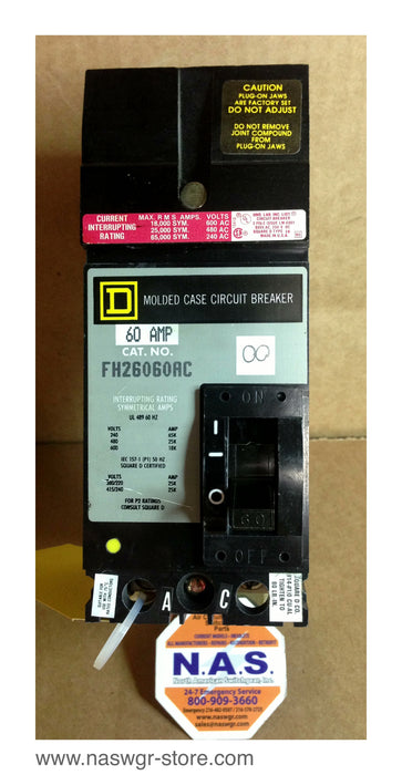 FH26060AC   Square D FH26060AC Circuit Breaker  60 Amp  2 Pole  I Line  Crown Style Stabs  240V 480V 600V  PN: FH26060AC