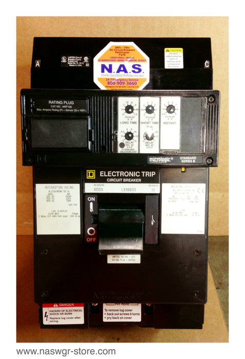 LX36600 , Square D LX36600 Circuit Breaker , 600 Amp , 3 Pole , I Line , 600 Amp Sensor , Crown Style Stabs , 240V 480V 600V , Rating Plug: ARP100 with LSI Functions , PN: LX36600