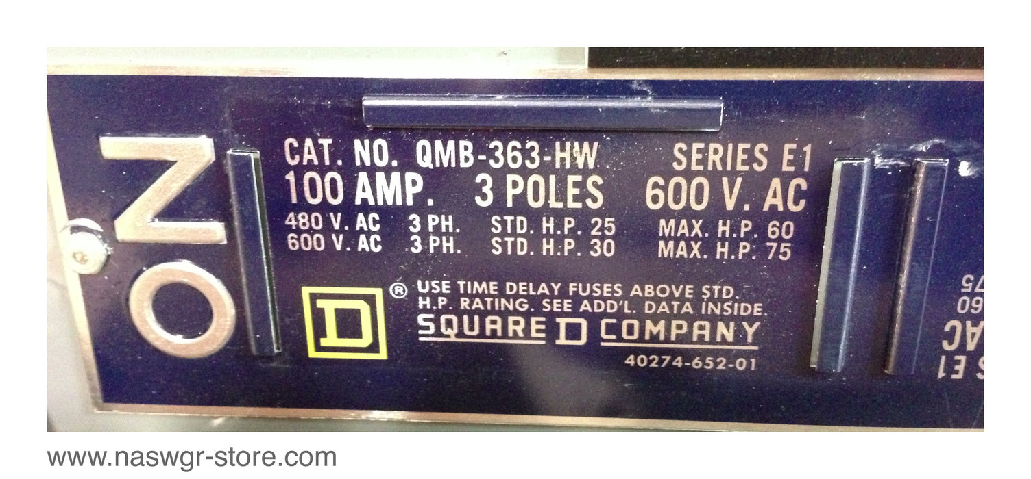 QMB363HW ~ Square D QMB-363-HW Panel Board Switch ~ 100 Amp