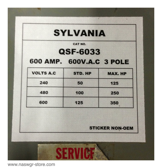 QSF-6033 ~ Sylvania QSF-6033 Panel Board Switch ~ 600 Amp ~ QSF