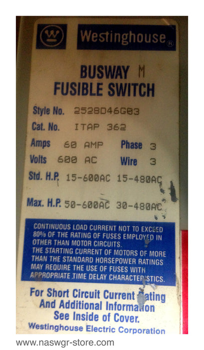 ITAP362 ~ Westinghouse ITAP362 Busway Fusible Switch ~ 60 Amp