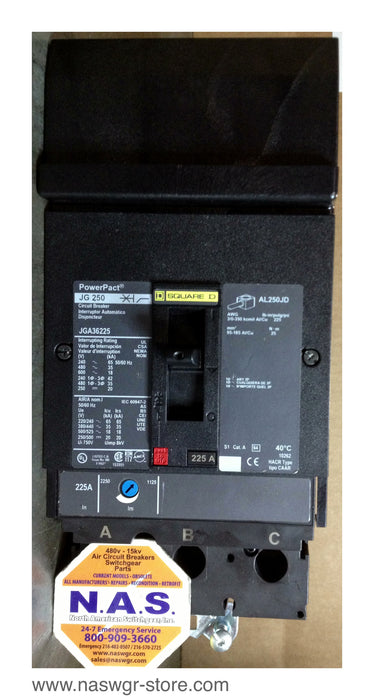 JGA36225 , Square D JGA36225 Circuit Breaker , 225 amp I Line 600 volt or less 3 pole Tested/Warranty , PN: JGA36225