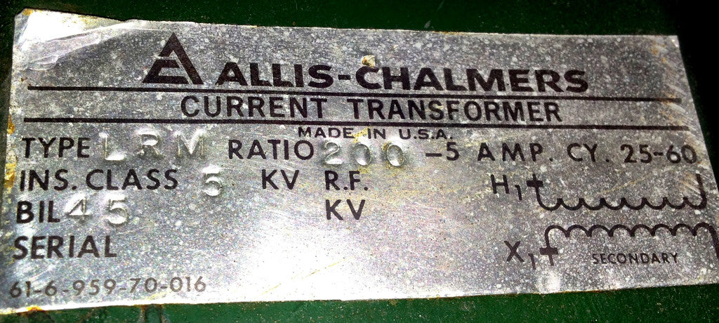 61-6-959-70-016 ~ Allis Chalmers 61-6-959-70-016 Current Transformer