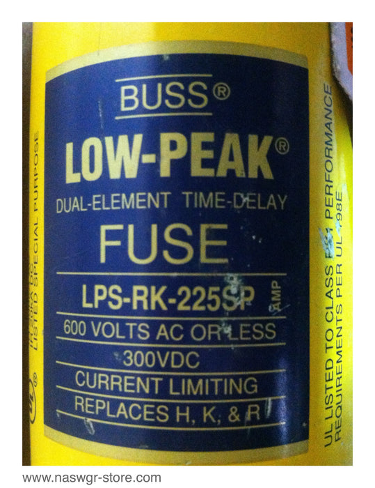 LPS-RK-225SP ,Cooper Bussmann Low-Peak Dual Element Time- Delay Fuse , PN: LPS-RK-225SP