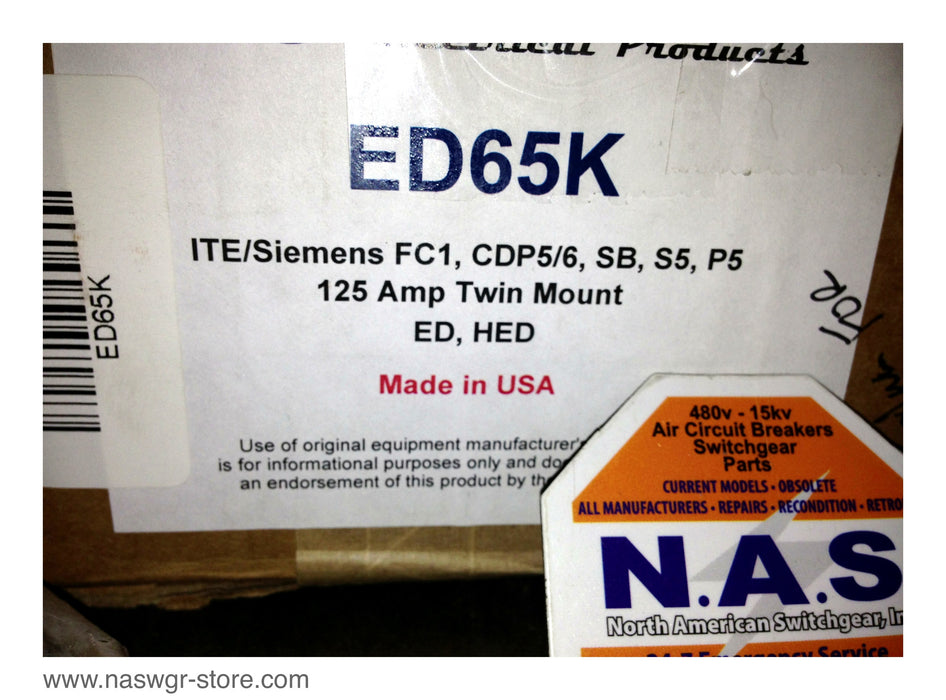 ED65K ~ ITE/ Siemens ED65K Mounting Hardware FC1 , CDP5/6 , SB , S5 , P5 , 125 Amp Twin Mount , ED , HED