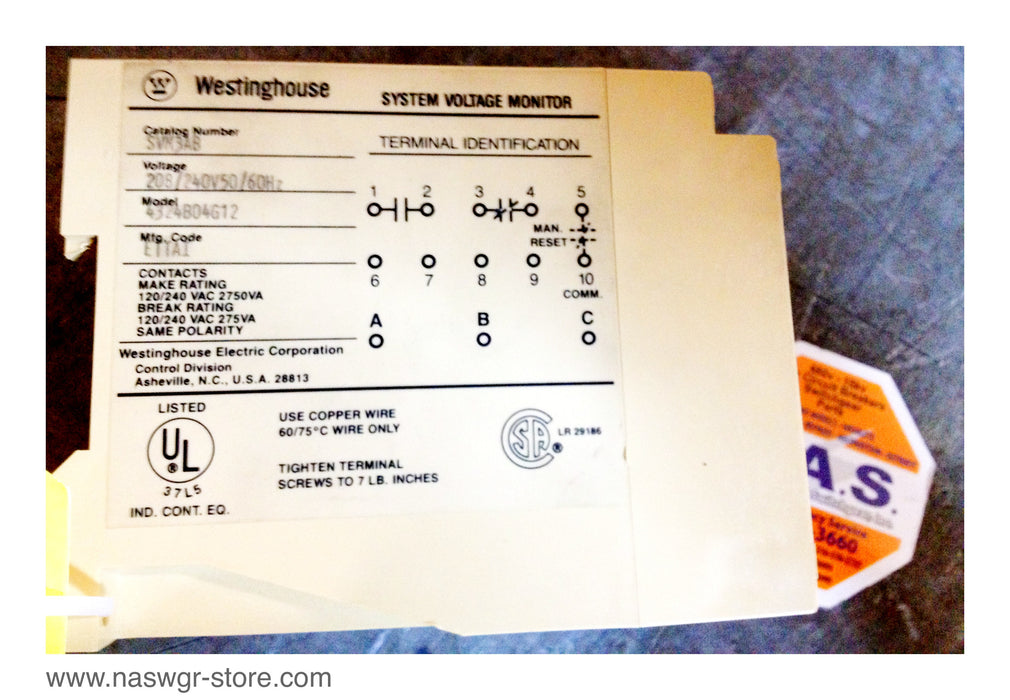 SVM3AB , Westinghouse System Voltage Monitor Model: 4324B04G12