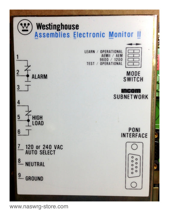 T940208 , 2D78548 , Westinghouse Assemblies Electronic Monitor II , Style: 2D78548 , PN: T940208