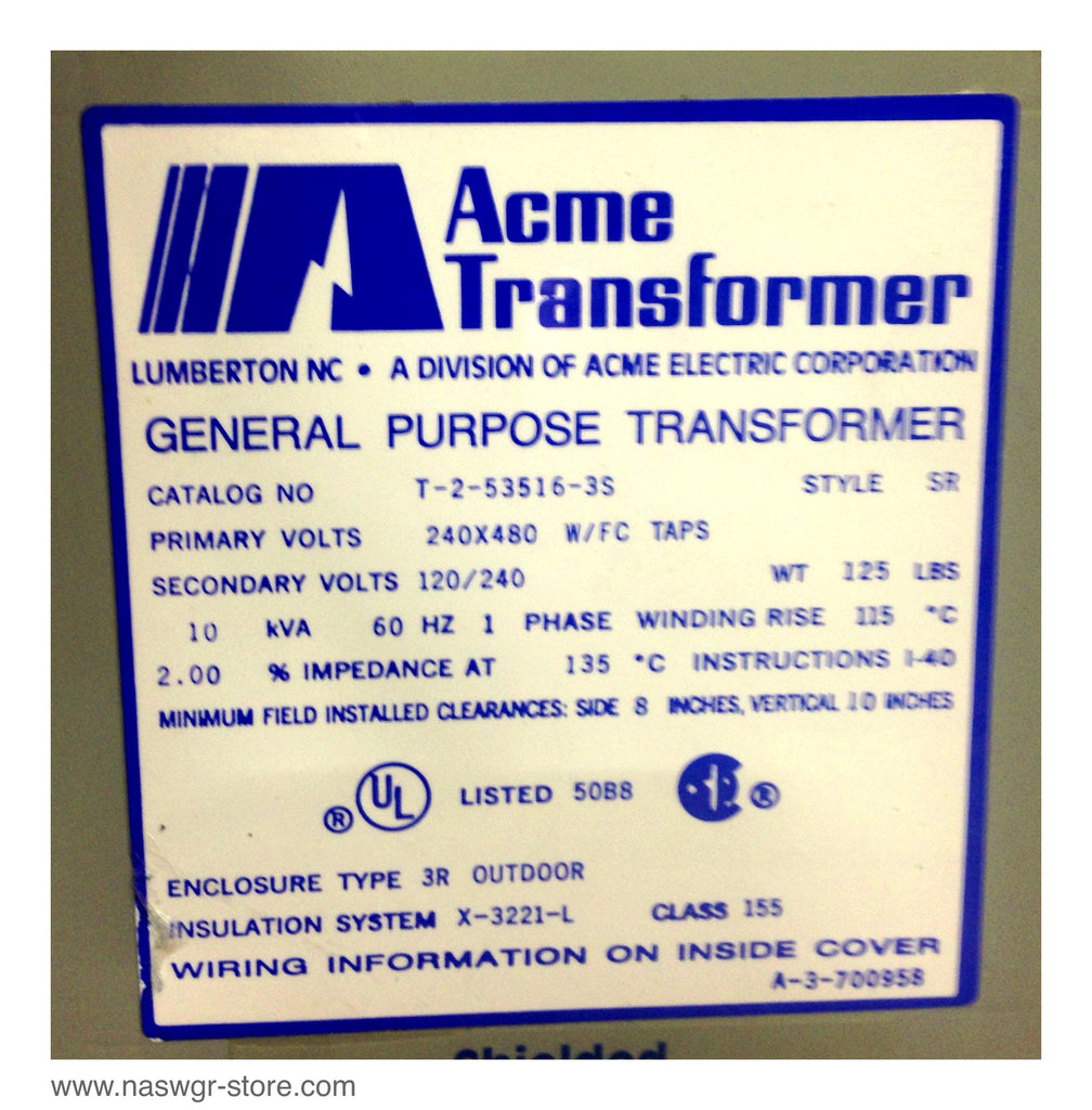 T-2-53516-3S , Acme T-2-53516-3S Transformer , General