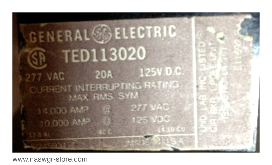 TED113020 , GE TED113020 Circuit Breaker , 277 VAC , 20 Amp , 125 VDC , 1 Pole , PN: TED113020