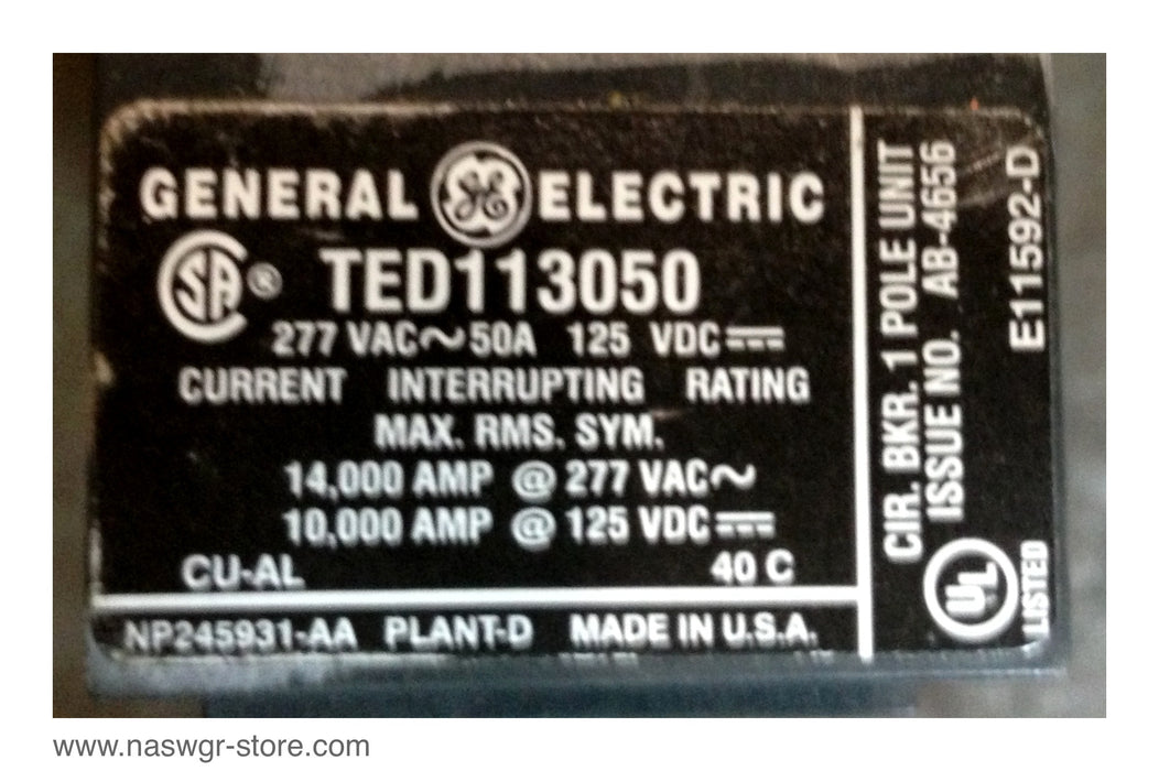 TED113050 , GE TED113050 Circuit Breaker , 1 Pole , 277VAC , 50 Amp , 125VDC , PN: TED113050