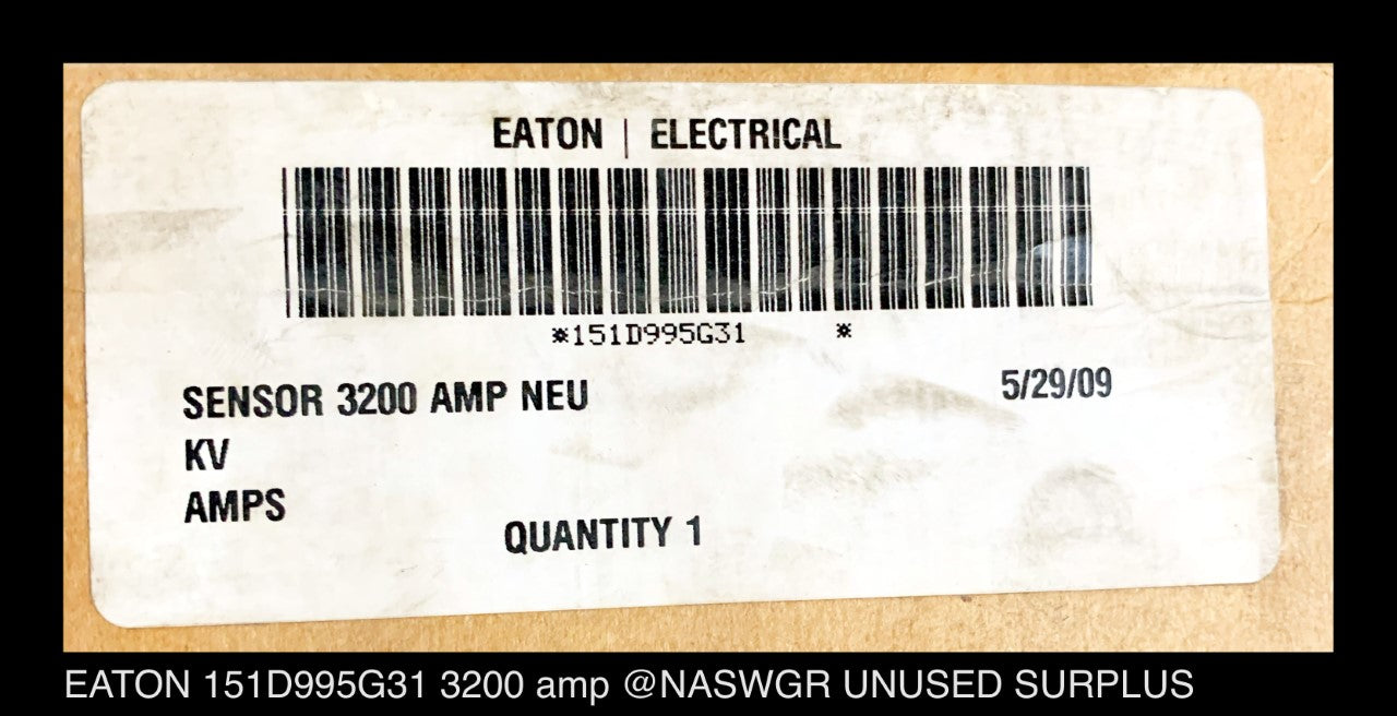EATON Cutler-Hammer 151D995G31 Neutral Current Transformer 3200 amp