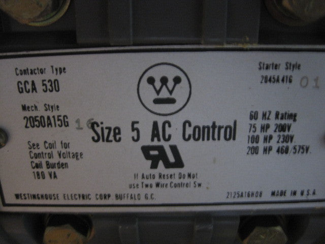 Westinghouse 2100 Series Size 5 Starter Combination Breaker Style MCC Bucket Contactor Type: GCA 530