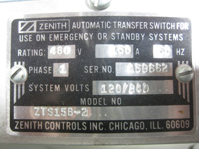 ZTS15B-2 ~ Zenith ATS Switches ZTS15B-2