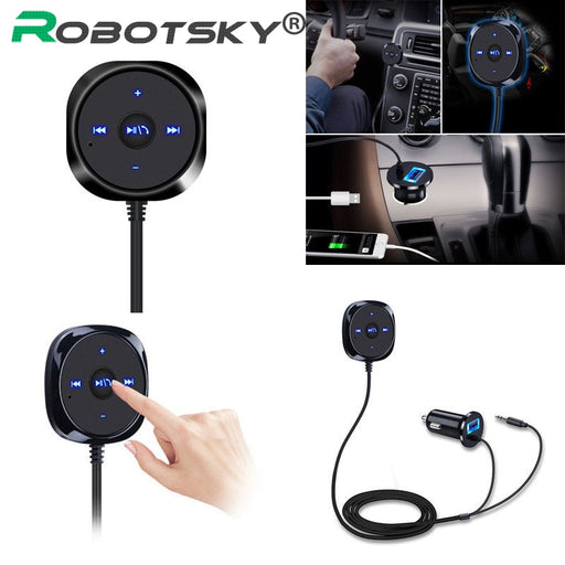 Bluetooth 4.0 Wireless 3.5mm Handsfree Car USB+AUX Speaker Kit