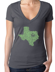 Ladies State of Hemp on Charcoal V-Neck