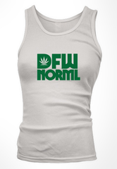 Women's Tank Top, Green on White