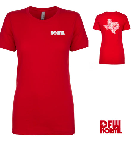 Ladies Red Two-Sided V-Neck