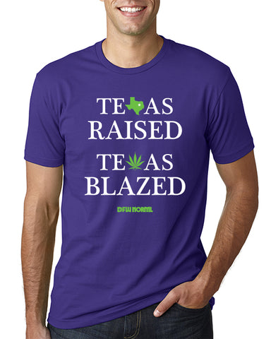 Texas Raised Texas Blazed on Purple T-Shirt