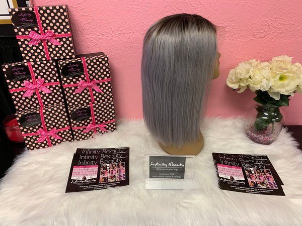 Ombré Gray Bob Lace Front Wig 100% Human Hair