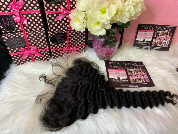 Mink Tropical Deep Wave Lace Frontal & 2 Bundles- 100% Virgin Hair