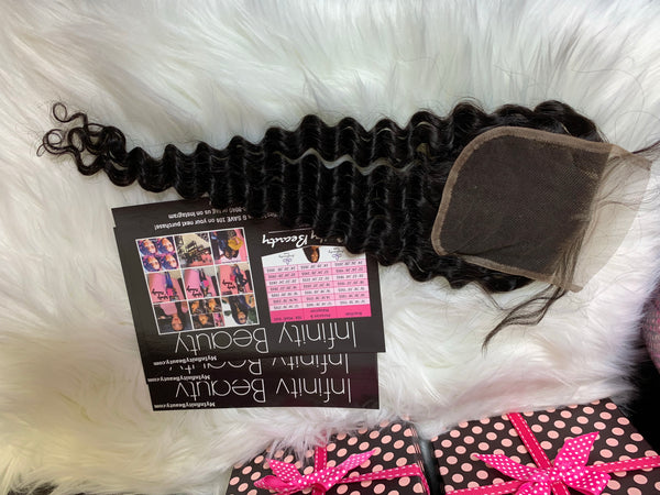 Deep Wave Closure 100% Virgin Human Hair