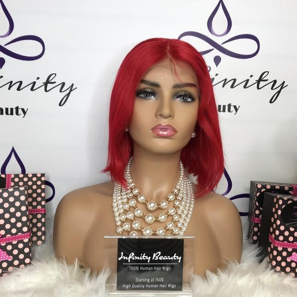 Fiery Red Bob Lace Wig 100% Human Hair