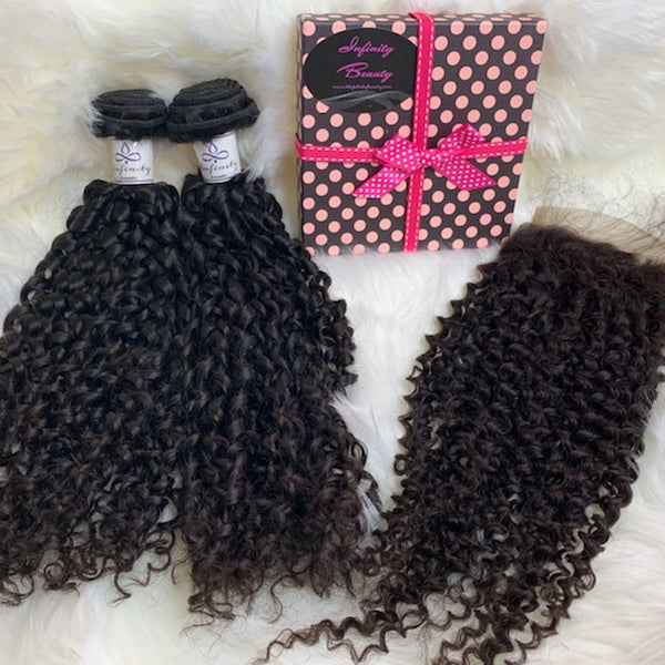 3 Burmese Curly Bundles +Closure 100% Human Hair