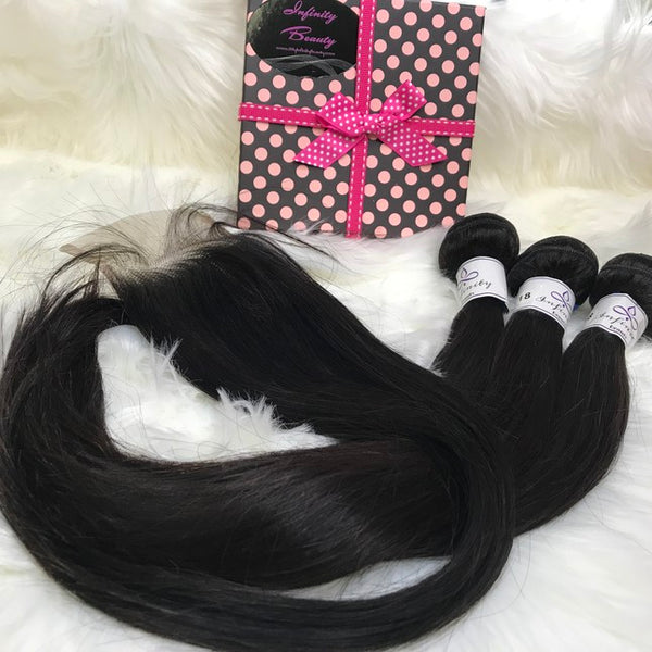 Straight 100% Virgin Human Hair-3 Bundles & Closure