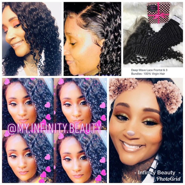 Deep Wave Lace Frontal & 2 Bundles- 100% Virgin Hair