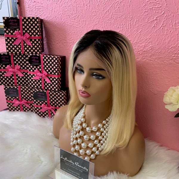 Ombre Blonde Bob Lace Front Wig 100% Human Hair