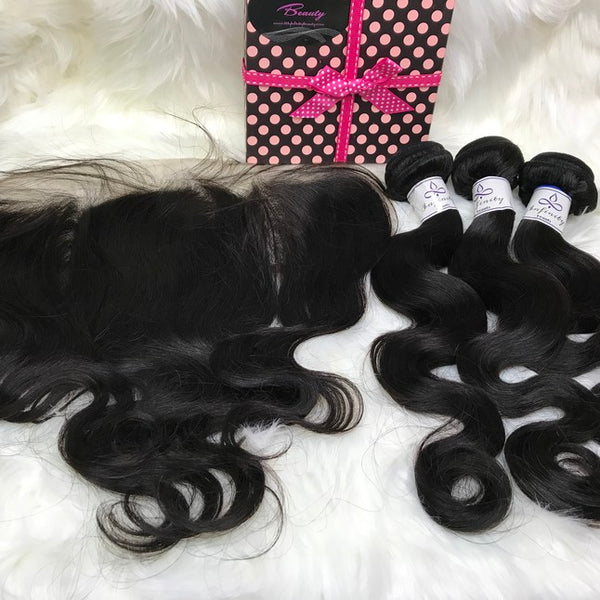 Body Wave Frontal & 3 Bundles- 100% Virgin Hair