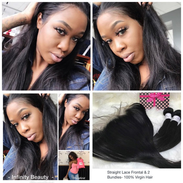 Straight Lace Frontal & 3 Bundles-100% Virgin Hair