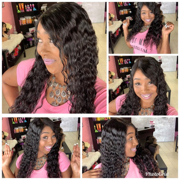 Water Wave 100% Virgin Human Hair Lace Wig
